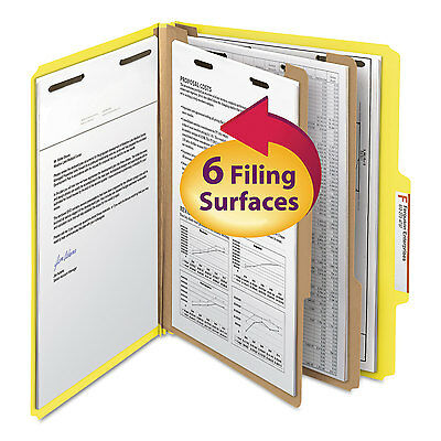 Smead Top Tab Classification Folder Two Dividers Six-Section Letter Yellow 10