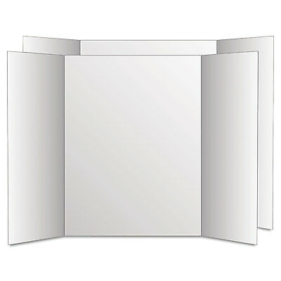 Eco Brites Too Cool Tri-Fold Poster Board 28 x 40 White/White 12/Carton 27136