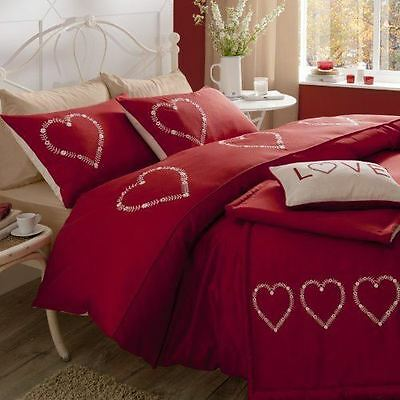 Decorative RED Hearts - Single Duvet Cover