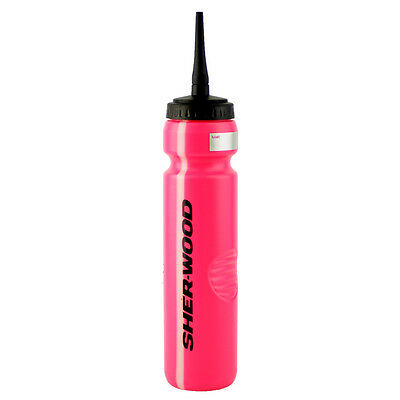PINK Hockey Water Bottle, Sports Bottle with LONG Rubber Spout