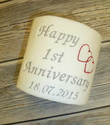 Personalised Embroidered Paper First Anniversary Toilet Roll