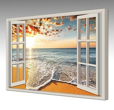 LARGE 30 Inch SUNSET WAVES WINDOW VIEW CANVAS WALL ART PICTURE PRINT NEW