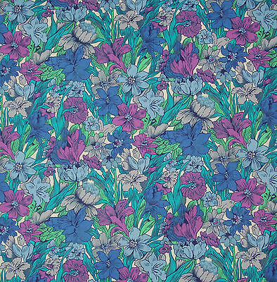 vintage 1980s Liberty blue floral print country cotton fabric