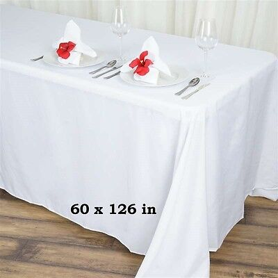 """10 pack 60""""x 126"""" Rectangle Linen Tablecloth Great Weddings. Choose Your Color"""