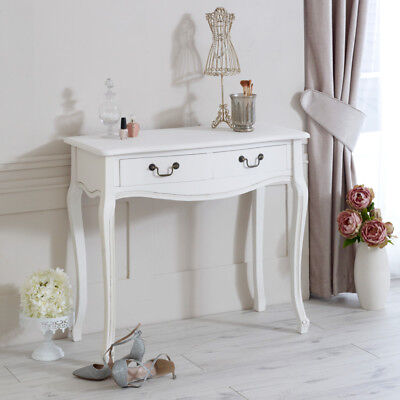 white console table 2 drawes bland handles french country shabby chic distressed