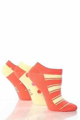 Girls 3 Pair Young Elle Red Spots & Stripe Trainer Socks