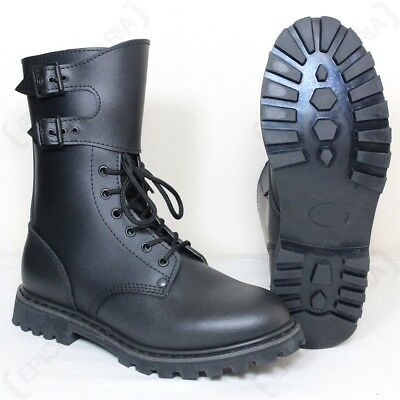 Black Leather French Army Ranger Buckle Boots - Mens Combat Military New Shoes