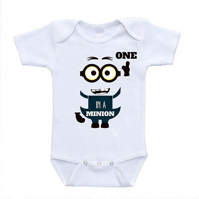 New One In A Minion Cute Funny Baby Onesies Bodysuits Unisex One Piece Rompers