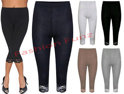 3cda98f6f5acce Womens 3/4 Length Leggings Ladies Floral Lace Cropped Trim Edge Jeggings  Pants