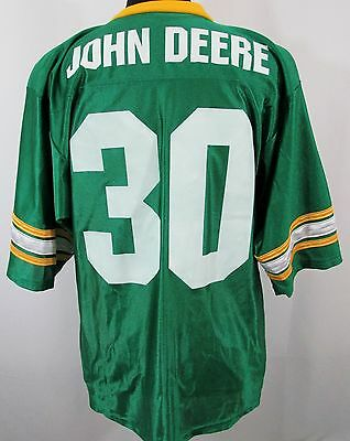 John Deere Men's LARGE Football Jersey Green #30 Made in USA Tractor POLY