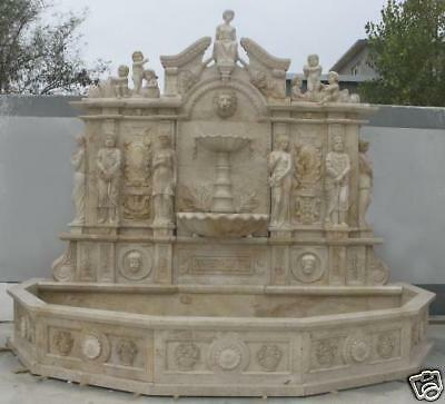 Enormous Large Wall Style Marble Fountain with Basin, Carvings include Cherubs