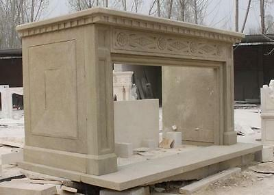 """Epic Marble fireplace mantel, Simple design in Beige Marble, 112"""" Wide"""