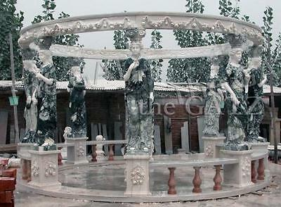 Impressively Large Two Tone Marble Gazebo with 8 Hand Carved Statues