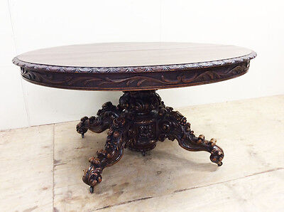 French Antique Hunting Black Forest Walnut Oval Dining Table 19th Century