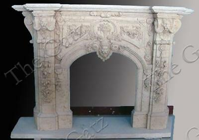 Heavily Carved Stately Marble Fireplace Mantel and Surround
