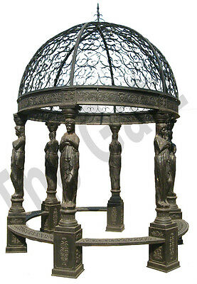 "Iron Garden Gazebo with Wrought Iron Open Dome, 165"" Tall Classic 6 Columns"