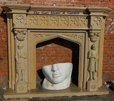 Gothic Style Fireplace Mantel and Surround, Featuring 2 Figures Polished or Un