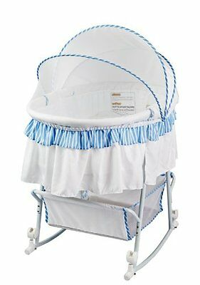 Baby Bassinet and Cradle Portable Rocking Chair Lacy Protable 2 in 1, Blue/White