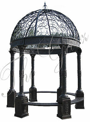 Gazebo in Cast Iron, Domed Open Roof Bench Seating 10 Foot Round Victorian Style