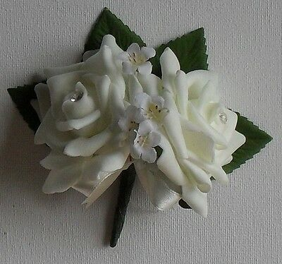 Ivory Double Rose Diamante Crystal  Wedding Flower Buttonhole Corsage Package