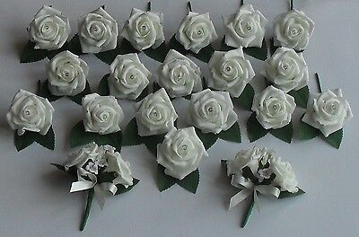New Crystal Diamante Ivory Flower Rose Buttonhole Corsage Wedding Roses Package