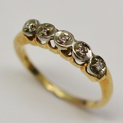 14k Yellow Gold Band with Diamonds, Ring Size 5.75