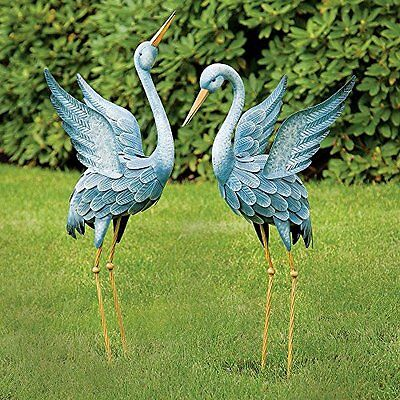 Garden Crane Statue Pair Metal Yard Art Blue Heron Sculpture