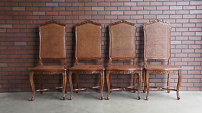French Provincial Dining Chairs / Dining Side Chairs / Cane Chairs ~ Set of 4