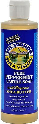 Liquid Castile Soap with Organic Shea Butter, Dr. Woods, 8 oz Peppermint