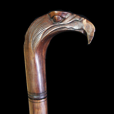 Wood Hand Carved Walking Stick Cane Gorgeous  Hawk Bird With Silver Ring