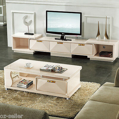 High Gloss TV cabinet unit and coffee table set white with Dark Tempered Glass