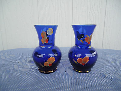 vintage retro pair  2 cobalt blue art glass vases pair