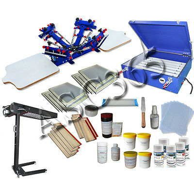 Whole set 2 Station 4 Color Screen Printing Press Flash Dryer Exposure Unit Kits