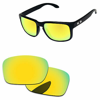 24K Golden Mirror Polycarbonate Replacement Lenses for-Oakley Holbrook Sunglass