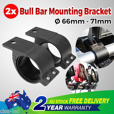 "2.5'' 2.6"" 63-67 66-71mm Bullbar Tube Roll Mount Bracket Clamp Light Bar Holder"