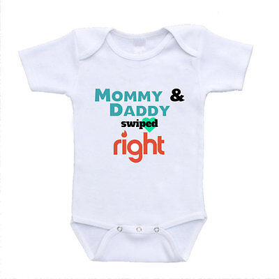 Mommy and Daddy Swiped Right Tinder Joke Funny Baby Onesies With Sayings Cute