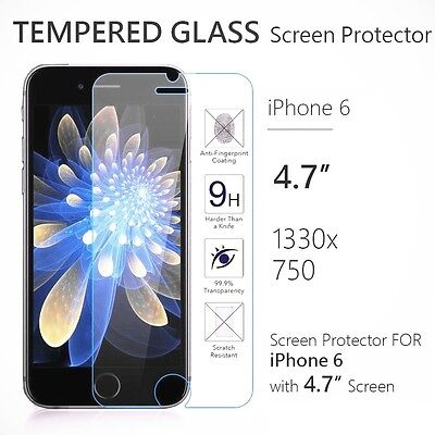 "Apple iPhone 6 4.7"" 9H Premium Real Tempered Glass Film Screen Protector Lot"