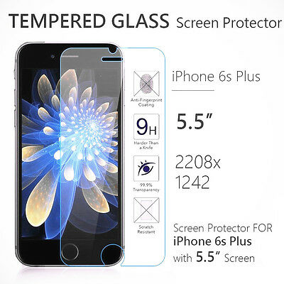 "Apple iPhone 6s Plus 5.5"" 9H Premium Real Tempered Glass Screen Protector Lot"