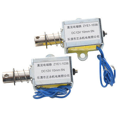 W6 1kg Force 10mm Stroke Push Open Frame Solenoid DC 12V