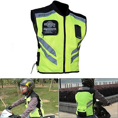 Motorcycle Riding MIL SPEC Mesh High Visibility safety Reflective Racing Vest XL