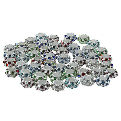50 Pcs 11x 6mm Strass Metal Beads Spacer Charms New SP