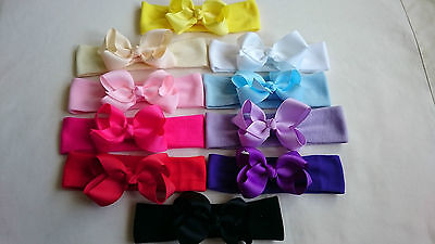 Baby/toddler/girl Wide Hair Head Band Ribbon Bow New