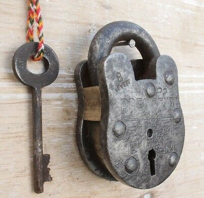 Vintage Handmade 8 Lever Side Button Tricky/puzzle Iron Pad lock ALIGARH