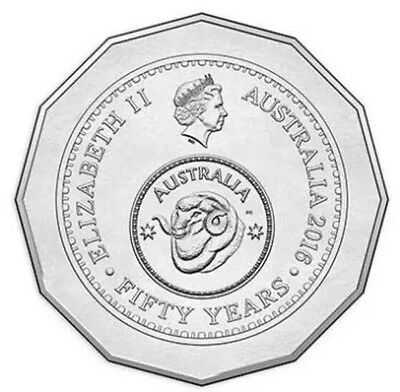 2016 Australian 50 Cent Coin - Fifty Year Decimal Currency RAM