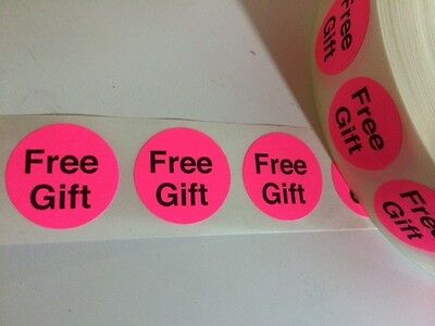 "50 FREE GIFT 7/8"" Stickers/labels PINK Neon Fluorescent FREE GIFT STICKER NEW"