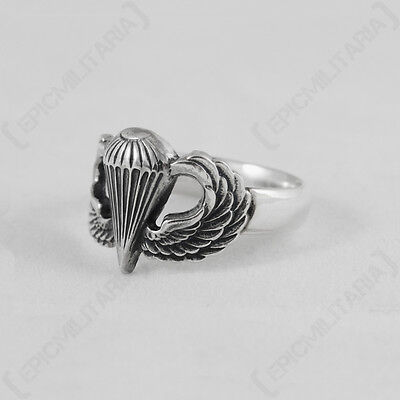 WW2 AMERICAN JUMP WINGS RING - REGULAR SIZE Repro Military Army US Silver New