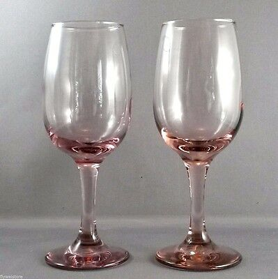 "Libbey Premiere Pink Wine Glasses 8 oz  7.25""  Set of 2"