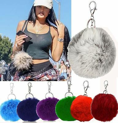 Womens New Celebrity Inspired Real Soft Fur Keyring Pompom Keychain Bag Fur Ball