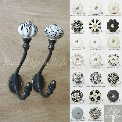 Vintage Style Reproduction cast iron Acorn - ceramic coat hook. Choice of knob