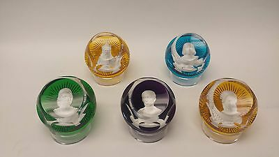 Baccarat Franklin Mint Paperweights with Stands Lot of 5
